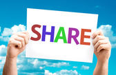 Share.Text on card — Stock Photo