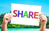 Share.Text on card — Foto de Stock