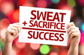 Sweat plus Sacrifice equal Success card — Stock Photo