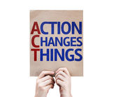 Action Changes Things card — Stock Photo