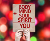 Body plus Mind plus Soul plus Spirit equal You card — Stock Photo