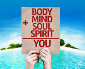 Body plus Mind plus Soul plus Spirit equal You card — Fotografia Stock