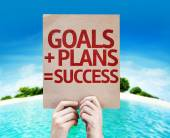 Goals plus Plans equal to Success card — Stock Photo