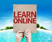 Learn Online card — Stock Photo