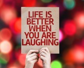 Life is Better When You Are Laughing card — Stock Photo