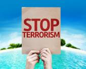 Stop Terrorism card — Stock Photo