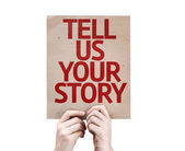 Tell Us Your Story card — Stock Photo