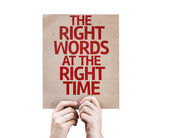 The Right Words At The Right Time card — Stock Photo