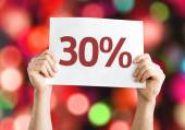30 percent card — Stock Photo