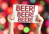 Beer card with colorful background — Stock Photo