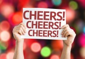 Cheers! card with colorful background — Stock Photo
