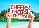 Cheers! Cheers! Cheers! card — Stock Photo