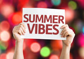 Summer Vibes card with colorful background — Stock Photo