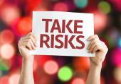 Take Risks card with colorful background — Stock Photo