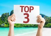 Top 3 card with a beach — Stock Photo
