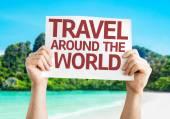 Travel Around the World card — Stock Photo