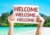Welcome Welcome Welcome card — Stock Photo