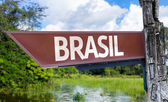 Brazil (in Portuguese) wooden sign — Stock Photo