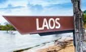 Laos wooden sign — Stock Photo