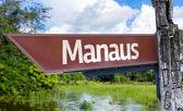 Manaus wooden sign — Stock Photo