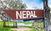 Nepal wooden sign — Stock Photo