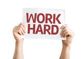 Work Hard card — Stock Photo