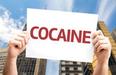Text: Cocaine on card — Stock Photo