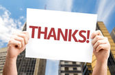 Thanks! card in hands — Stock Photo