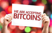 We Are Accepting Bitcoins card — Stock Photo