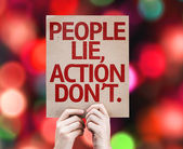 People Lie, Action Don't card — Stock Photo