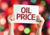 Oil Price card with colorful background — Stock Photo