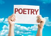 Poetry card in hands — Stock Photo