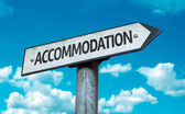 Text:Accommodation on sign — Stock Photo