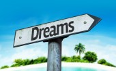 Text:Dreams  on sign — Stock Photo