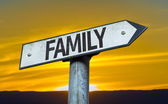 Family sign with a sunset — Stock Photo