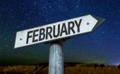 February sign with night — Stock Photo