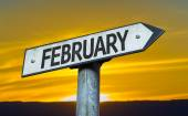 February sign with a sunset — Stock Photo