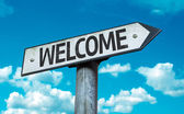Text Welcome   on sign — Stock Photo
