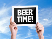 Tablet pc with text Beer Time — Stock Photo