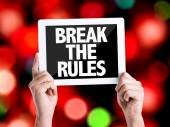 Tablet pc with text Break the Rules — Stock Photo