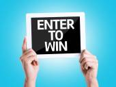 Tablet pc with text Enter to Win — Stock Photo