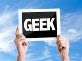 Tablet pc with text Geek — Stock Photo