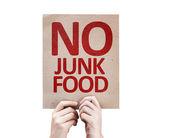 Žádná karta nezdravé potraviny — Stock fotografie