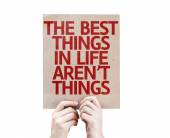 The Best Things in Life Aren't Things card — Stock Photo