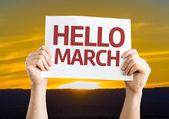 Hello March card — Stock Photo