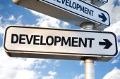 Development direction sign — Stock Photo