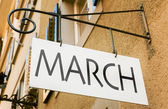March sign on building — Stock Photo