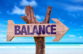 Balance wooden sign — Stock Photo