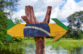 Brazil Flag wooden sign — Stock Photo