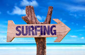 Surf wooden sign — Stock Photo